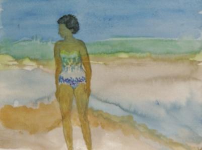 moc-ma mère à la mer (aquarelle)