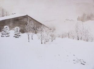 Chalet sous la neige_ML